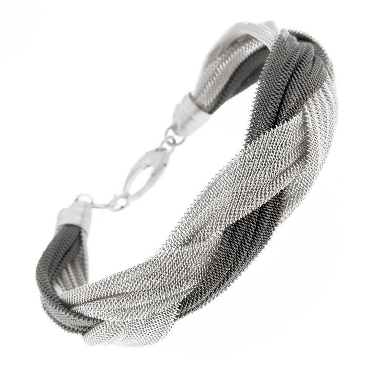 Jona Sterling Silver Woven Bracelet For Sale