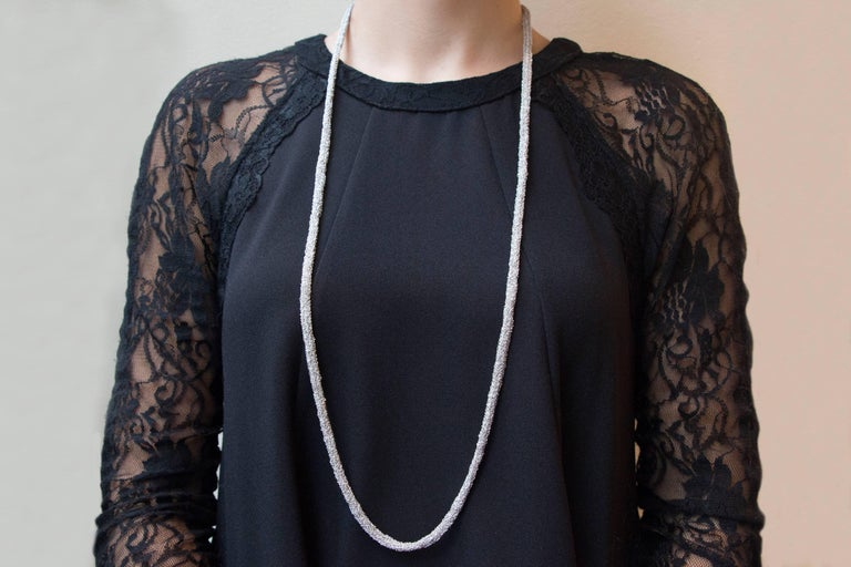 Jona design collection, hand crafted in Italy, rhodium plate sterling silver long chain necklace, 35.43 inch- 90cm long, made of woven small chains.  All Jona jewelry is new and has never been previously owned or worn. Each item will arrive at your