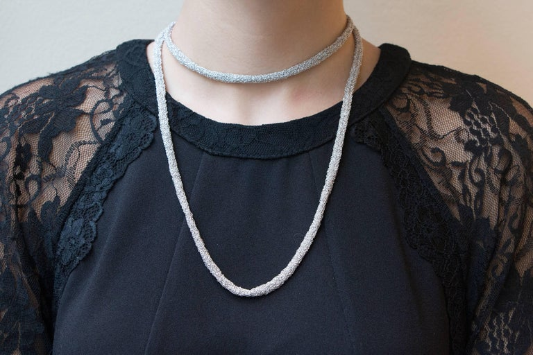 Jona Sterling Silver Woven Long Chain Necklace For Sale 4