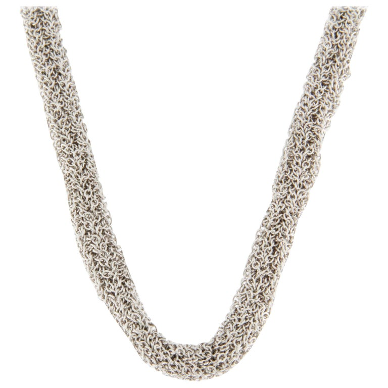 Jona Sterling Silver Woven Long Chain Necklace For Sale