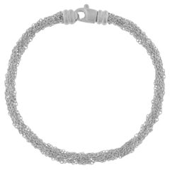 Jona Sterling Silver Woven Multiple Chain Bracelet