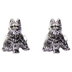 Jona Sterling Silver Zwergschnauzer Miniature Schnauzer Dog Cufflinks
