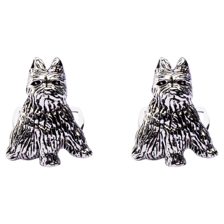 Jona Sterling Silver Zwergschnauzer Miniature Schnauzer Dog Cufflinks For Sale