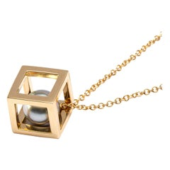 Jona Tahiti Pearl 18 Karat Yellow Gold Cube Cage Pendant Necklace