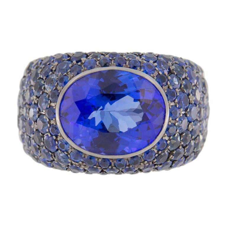 Oval Cut Jona Tanzanite Blue Sapphire White Gold Band Ring For Sale