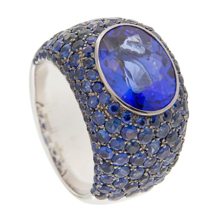 Women's or Men's Jona Tanzanite Blue Sapphire White Gold Band Ring For Sale