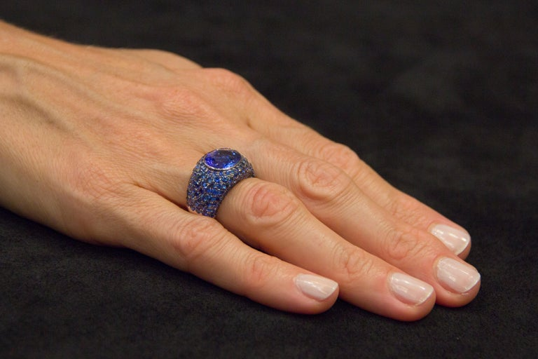 Jona Tanzanite Blue Sapphire White Gold Band Ring For Sale 1
