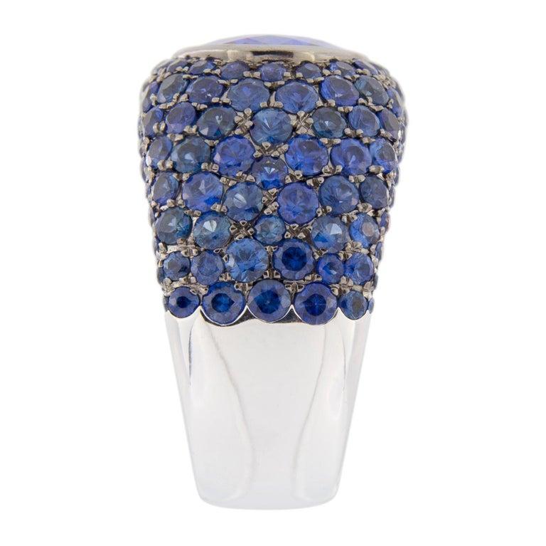Jona Tanzanite Blue Sapphire White Gold Band Ring For Sale 2