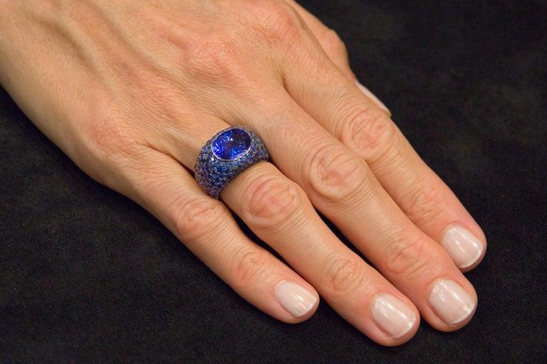 Jona Tanzanite Blue Sapphire White Gold Band Ring For Sale 3