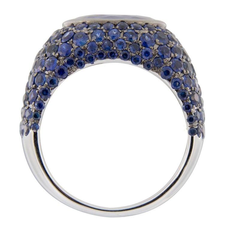 Jona Tanzanite Blue Sapphire White Gold Band Ring For Sale 4
