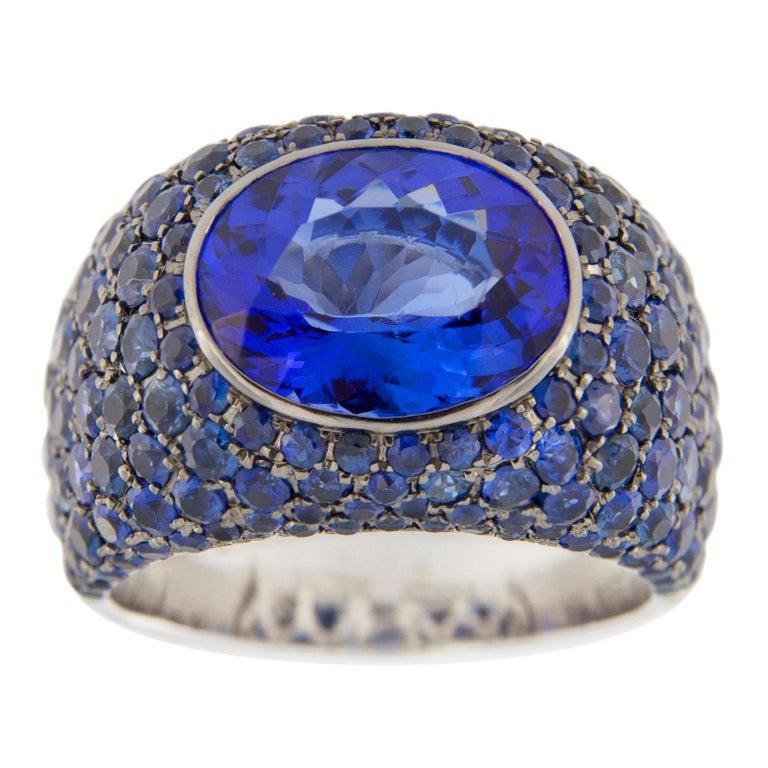 Jona Tanzanite Blue Sapphire White Gold Band Ring For Sale
