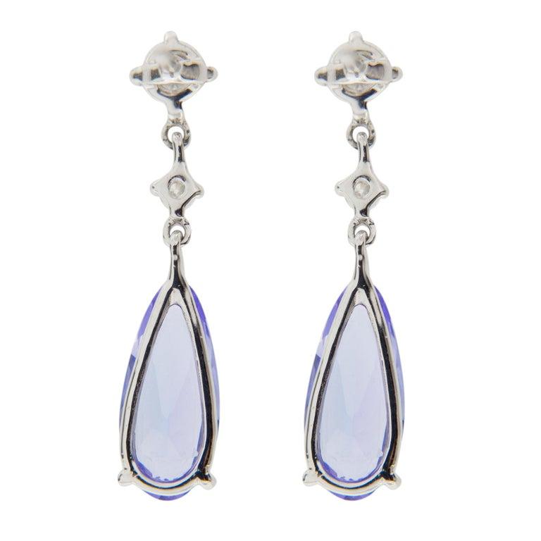 Jona Tanzanite White Diamond 18 Karat White Gold Drop Earrings In New Condition For Sale In Torino, IT