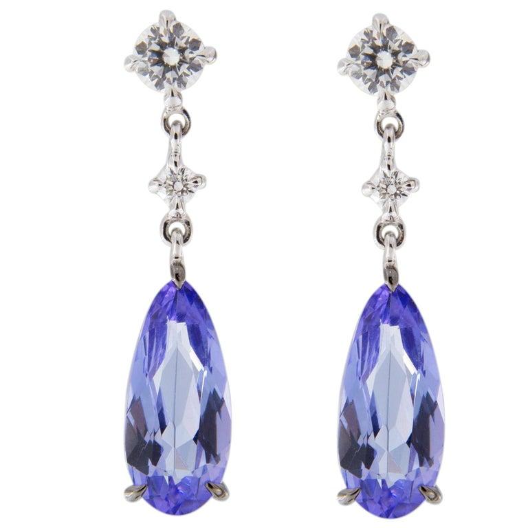 Jona Tanzanite White Diamond 18 Karat White Gold Drop Earrings For Sale
