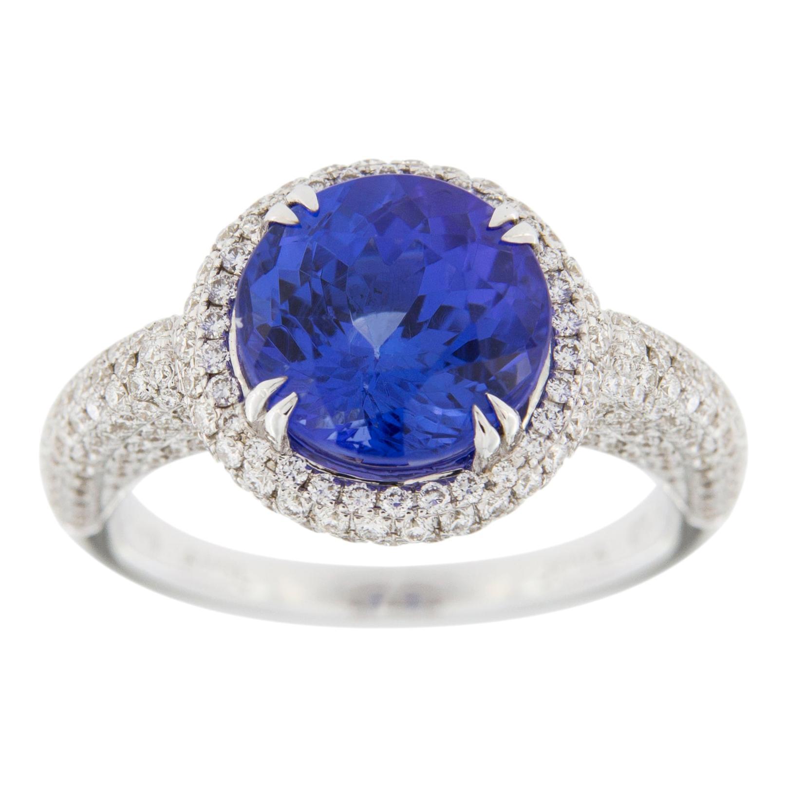 Alex Jona Tanzanite White Diamond 18 Karat White Gold Ring
