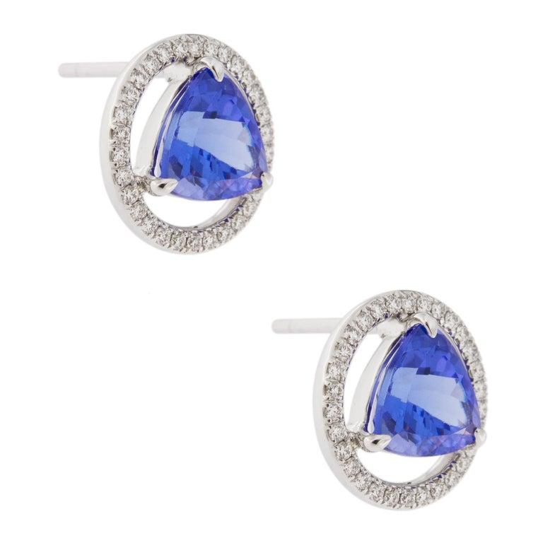 Women's Jona Tanzanite White Diamond 18 Karat White Gold Stud Earrings For Sale