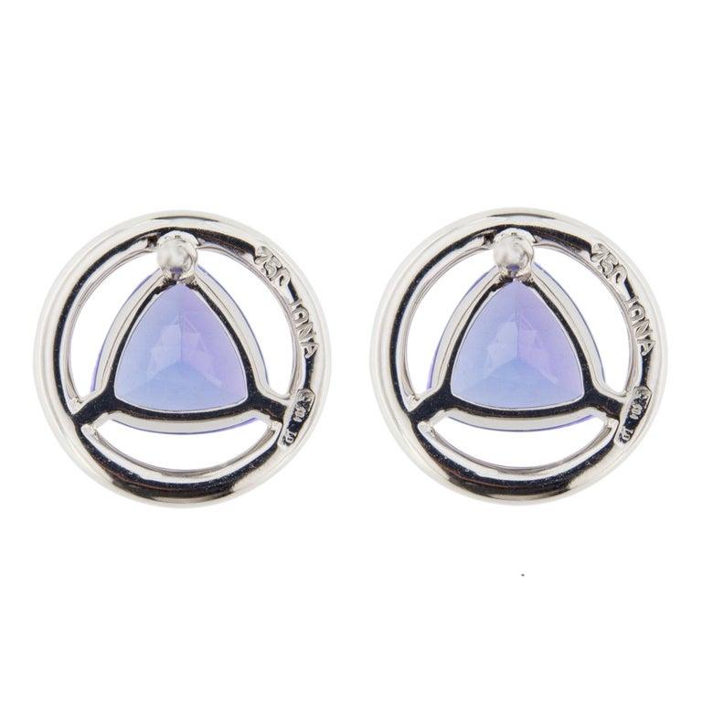 Jona Tanzanite White Diamond 18 Karat White Gold Stud Earrings For Sale 1