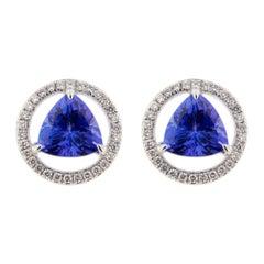 Jona Tanzanite White Diamond 18 Karat White Gold Stud Earrings