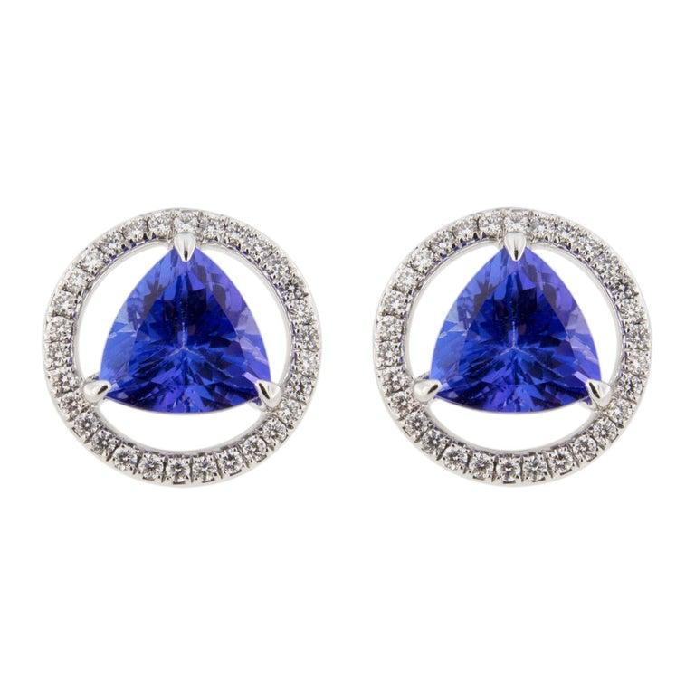 Jona Tanzanite White Diamond 18 Karat White Gold Stud Earrings For Sale