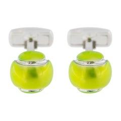 Jona Tennis Ball Enamel Sterling Silver Cufflinks