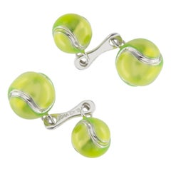 Jona Tennis Ball Enamel Sterling Silver Cufflinks