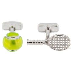 Jona Tennis Racket and Ball Enamel Sterling Silver Cufflinks