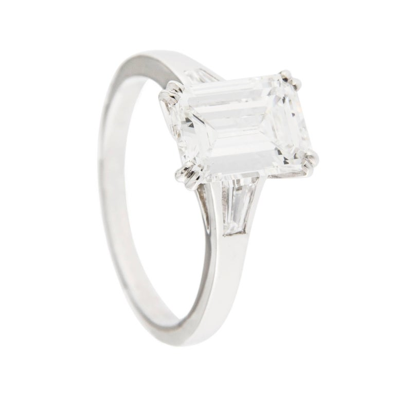 Jona Three-Stone Engagement Ring 2.14 Ct. Emerald Cut White Diamond GIA Cert