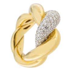 Jona Torchon White Diamond 18 Karat Yellow Gold Cocktail Ring