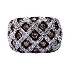 Jona Treillage White and Brown Diamond 18 Karat White Gold Dome Ring
