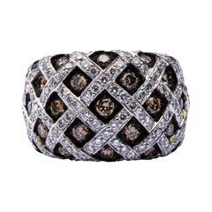 Alex Jona Treillage White and Brown Diamond 18 Karat White Gold Dome Ring