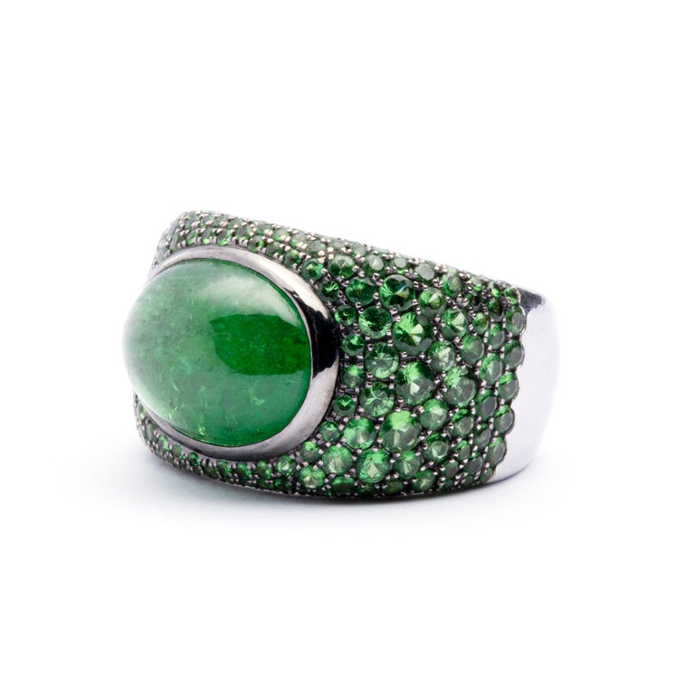 Oval Cut Jona Tsavorite 18 Karat White Gold Band Ring For Sale