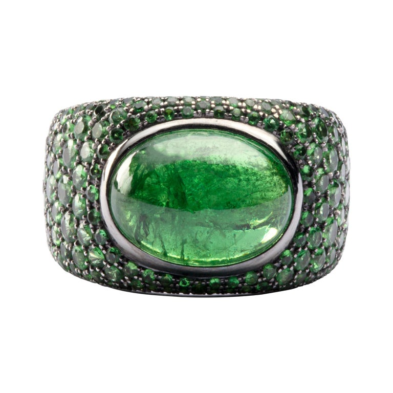 Jona Tsavorite 18 Karat White Gold Band Ring For Sale