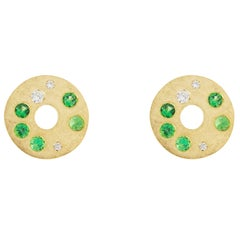 Jona Tsavorite White Diamond 18 Karat Yellow Gold Stud Earrings