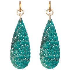 Jona Turquoise 18 Karat Yellow Gold Dangle Earrings