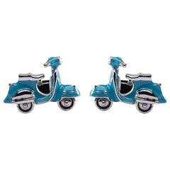 Jona Turquoise Enamel Silver Scooter Cufflinks