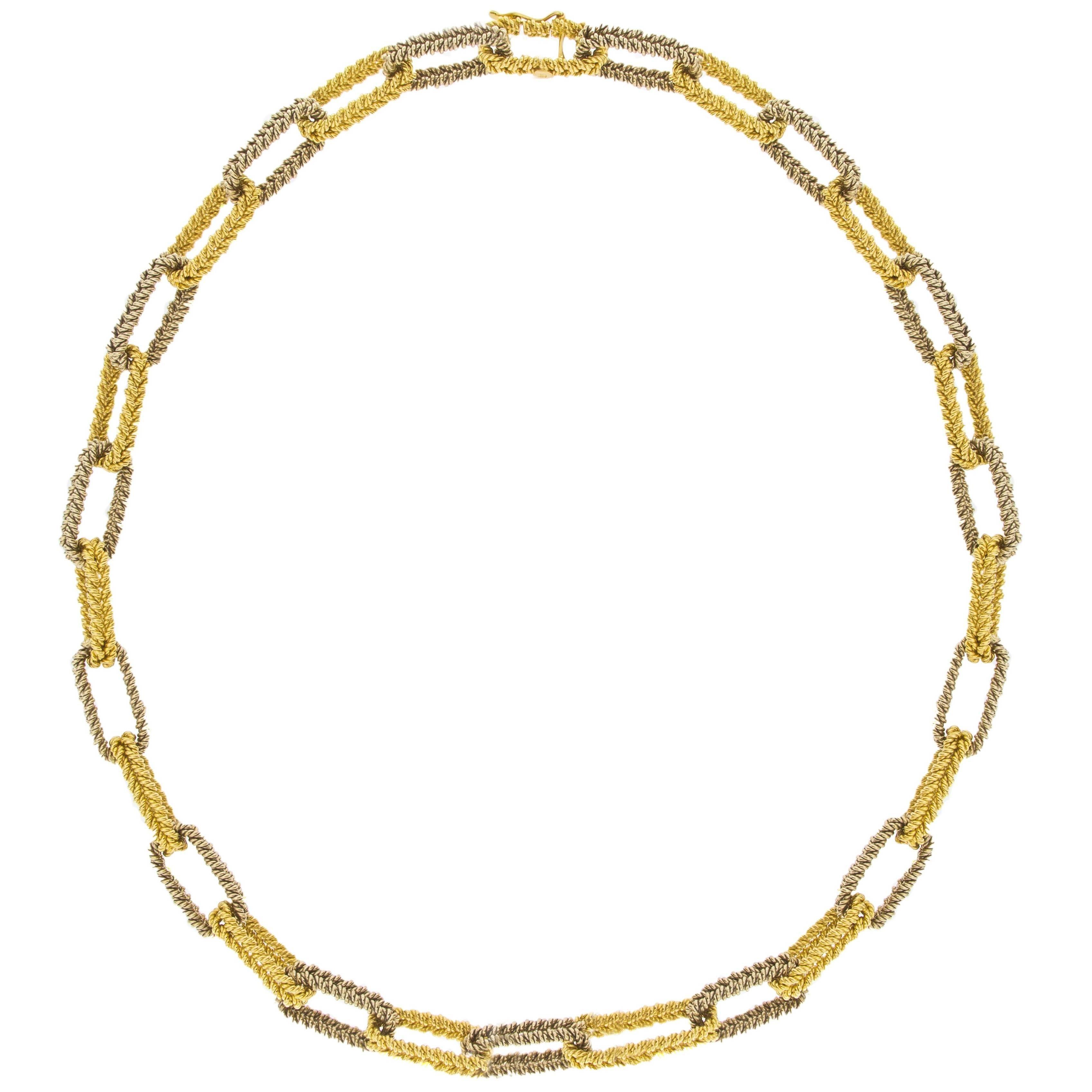 Jona Two Tone Yellow & White 18 Karat Gold Link Chain Necklace