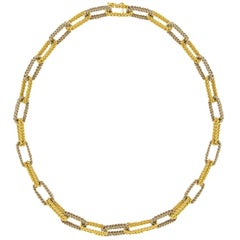 Jona Two Tone Yellow & White 18 Karat Gold Link Chain Necklace