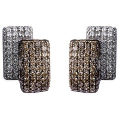 Jona White and Brown Diamond 18 Karat White Gold Ear Clips
