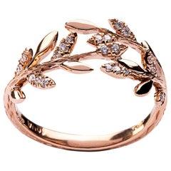 Jona White Diamond 18 Karat Rose Gold Foliage Ring
