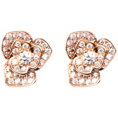 Jona White Diamond 18 Karat Rose Gold Rose Flower Stud Earrings