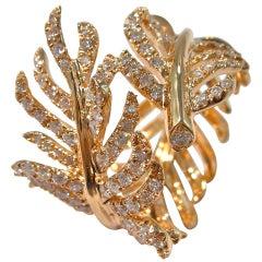 Jona White Diamond 18 Karat Rose Gold Wrap around Feather Band Ring