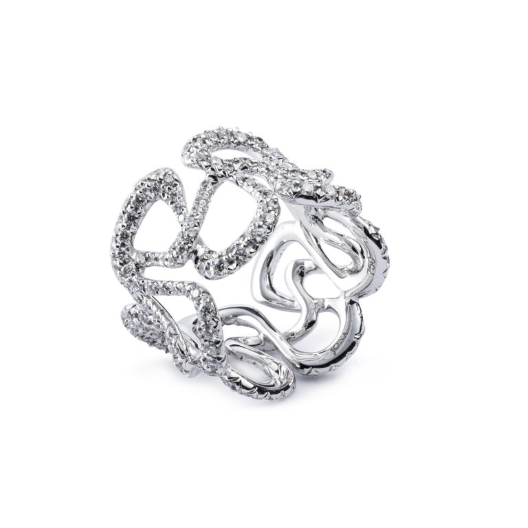 Contemporary Alex Jona White Diamond White Gold Band Ring For Sale