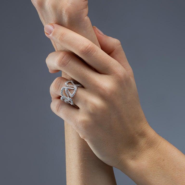 Round Cut Alex Jona White Diamond White Gold Band Ring For Sale