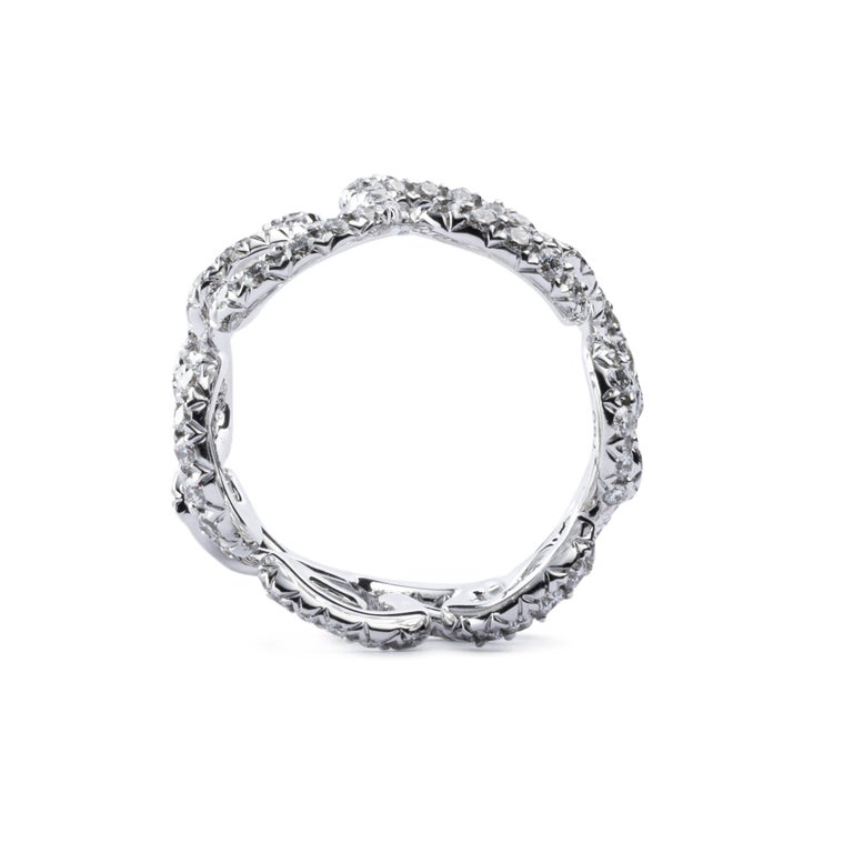 Alex Jona White Diamond White Gold Band Ring In New Condition For Sale In Torino, IT