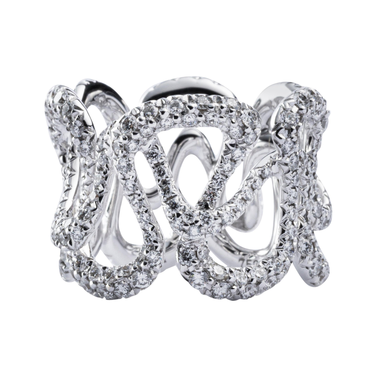 Jona White Diamond 18 Karat White Gold Band Ring