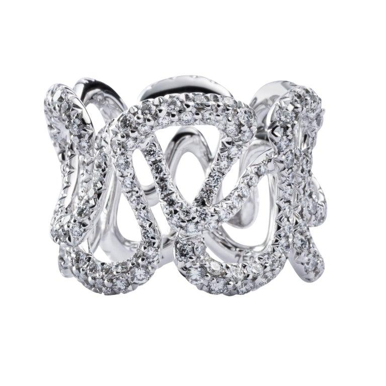 Alex Jona White Diamond White Gold Band Ring For Sale