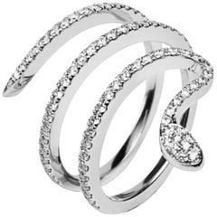 Jona White Diamond 18 Karat White Gold Coil Snake Ring