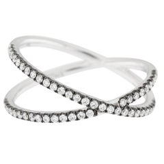 Alex Jona White Diamond 18 Karat White Gold Crossover Ring