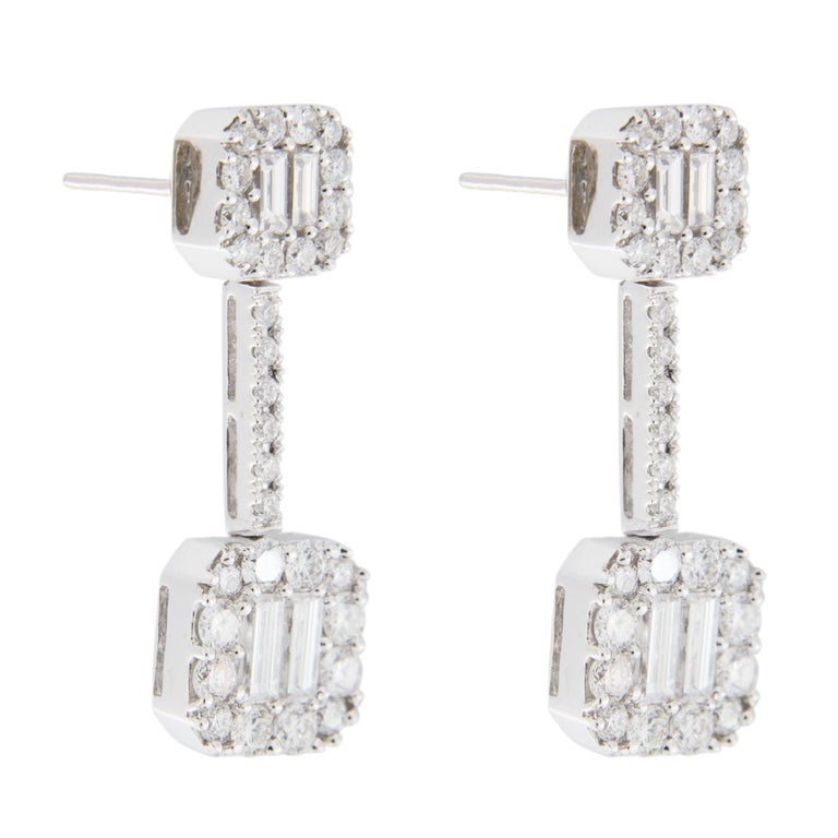 Jona White Diamond 18 Karat White Gold Dangle Earrings In New Condition For Sale In Torino, IT