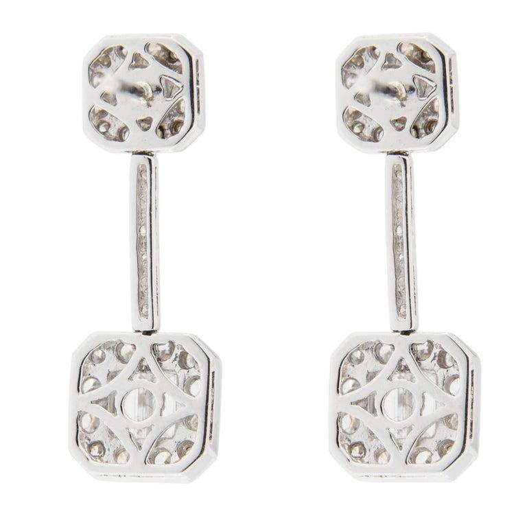 Jona White Diamond 18 Karat White Gold Dangle Earrings For Sale 1