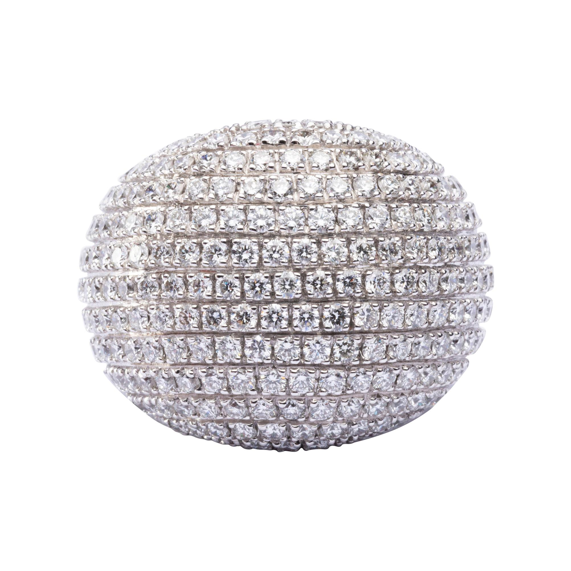 Alex Jona White Diamond 18 Karat White Gold Dome Ring
